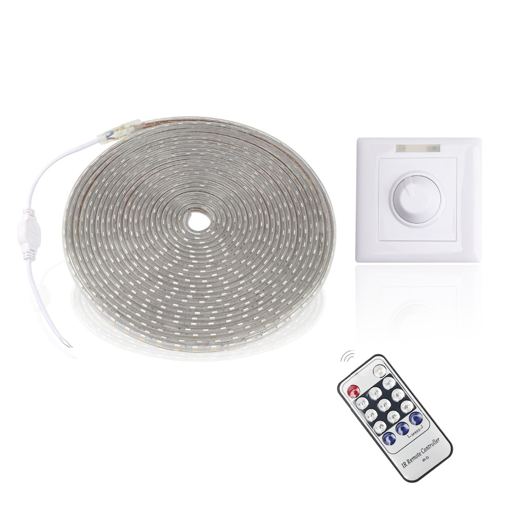 AC220V LED Strip SMD 5050 RGB IP67 Waterproof 60 Leds/M LED Light With Dimmer Controller White/Warm White Ledstrip JQ hml ip68 waterproof 72w 6000lm 300 smd 5050 led warm white light led strip w mini controller