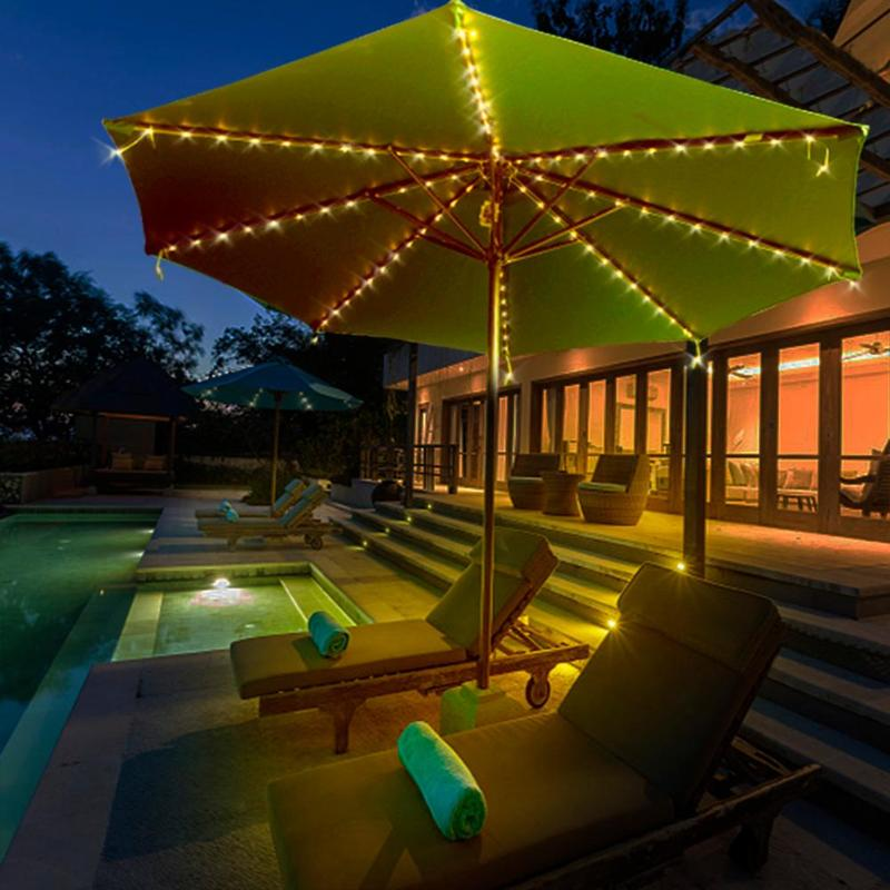 104LED Patio Umbrella Tent LED String Light 8 Mode 8 Strings Copper Wire String Light For Outdoor Garden Backyard Holidays Party