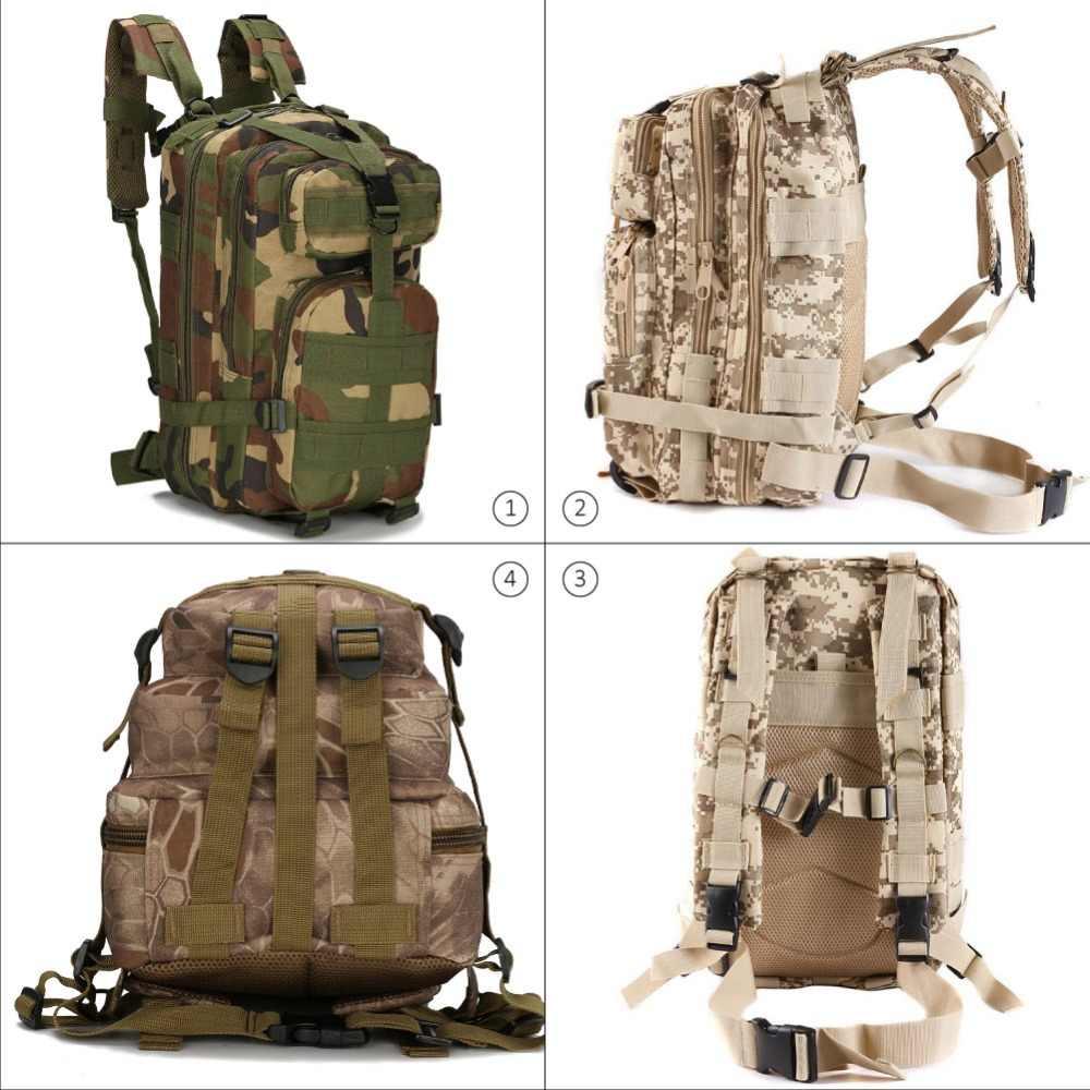 Facecozy Outdoor Hiking Ransel Taktis Militer Kamuflase 600D Nilon Trekking Travel Kit Bag 25-30L Kecil Olahraga Ransel