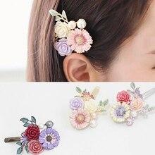 Venta caliente de moda mujeres niñas Crystal Rhinestone flores pinza de pelo belleza horquilla cabeza pasador adornos accesorios para el cabello