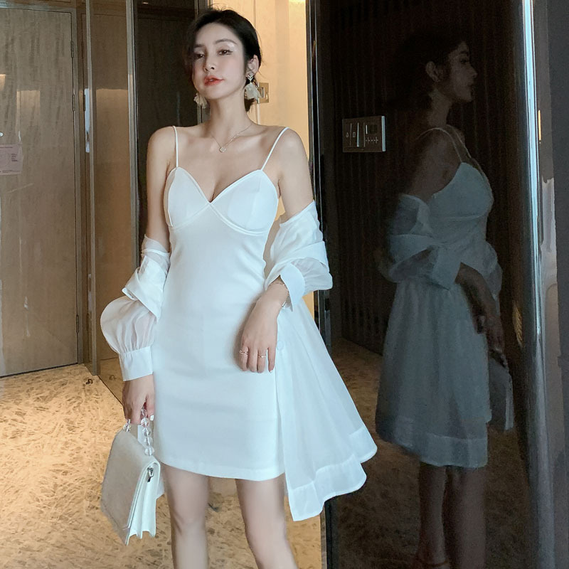 Kadın Giyim'ten Kadın Setleri'de 2 adet Set Kadın Takım Elbise 2019 Yaz Uzun Kollu Örgü Uzun Gömlek Üst ve Zarif Spagetti kemerli elbise Lady İki Adet set Vestidos'da  Grup 2