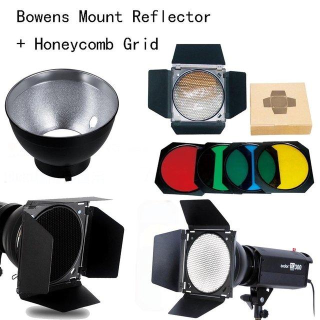 Godox Bowens Mount Reflector for Studio Flash + BD-04 Barn Door Honeycomb Grid + 4 color Filter