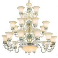 Новый стиль ретро Винтаж светодиодный Люстра светильник роскошный большой Гостиная E27 трехэтажный Стекло люстра бесплатная доставка