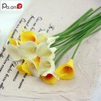 חדש 9 יח'\חבילה צהוב PU Calla פרח פרחים מלאכותיים פרחי משי בית חתונת קישוט חגיגי ספקי צד