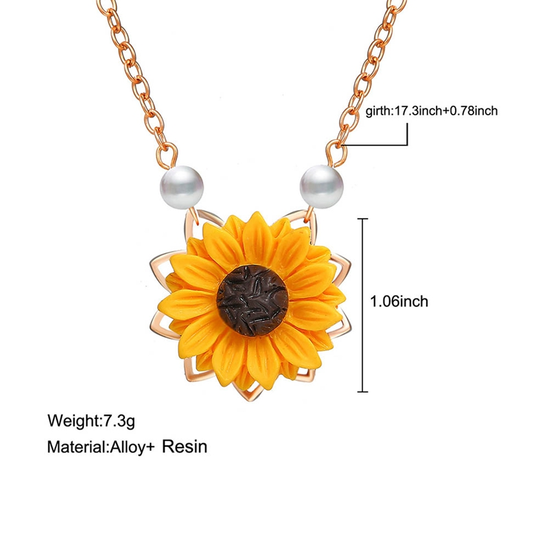Fashion Long Chain Pendant Necklace Women Personality Imitation Pearl Sunflower Beads Statement Necklace Collares Jewelry in Pendant Necklaces from Jewelry Accessories