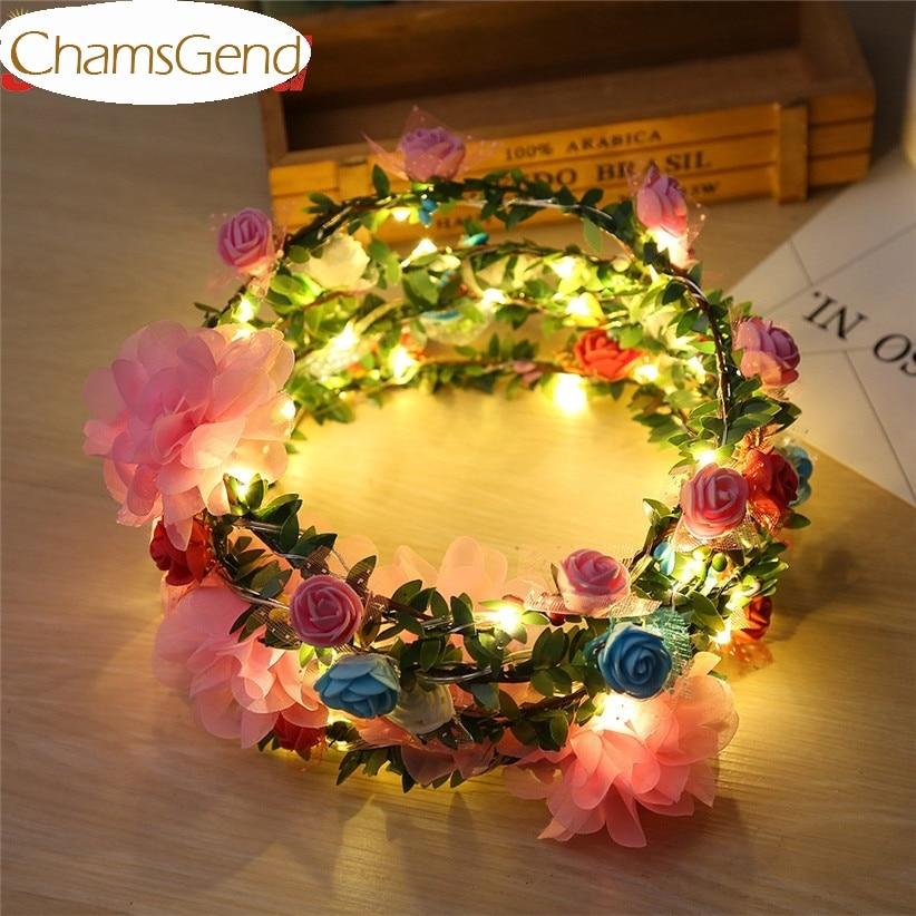 5 Color Women Decorative Rose Flowers Garland Led Lighting Headbands Hairbands For Halloween Fairy Wedding Drop Shipping 170804