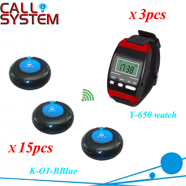 Wireless waiter buzzer call system 3pcs wrist watch receiver work with 15pcs waterproof bell 433.92mhz with CE restaurant pager watch wireless call buzzer system work with 3 pcs wrist watch and 25pcs waitress bell button p h4