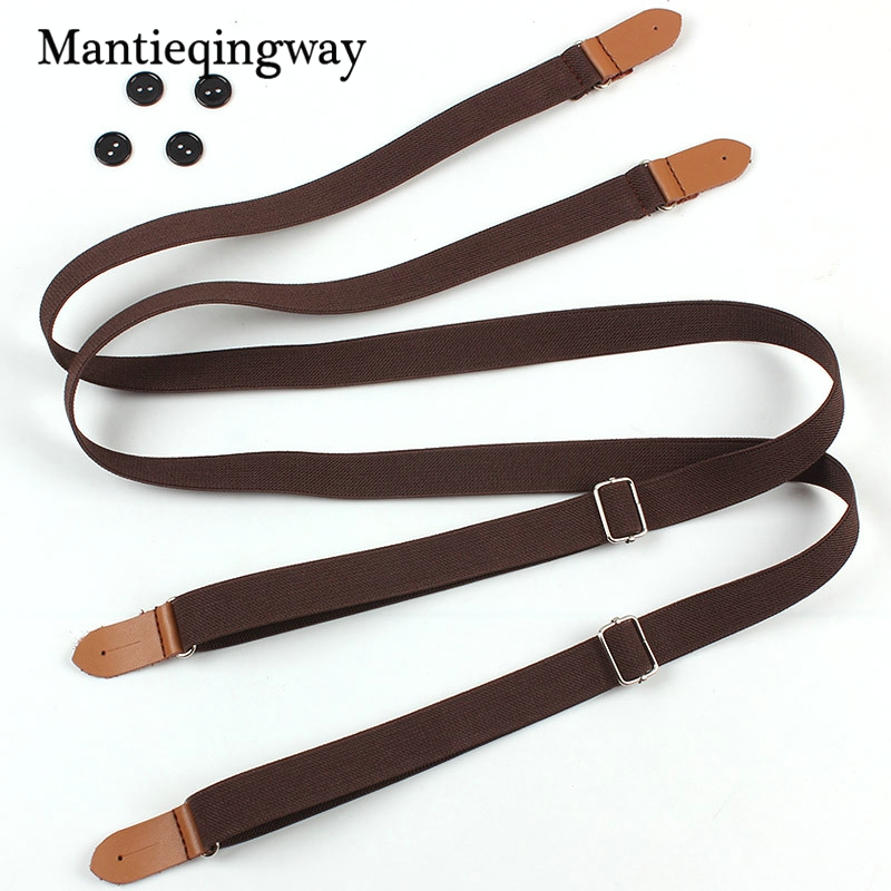 Men's Solid Color Suspenders For Unisex Women Strap Suspenders Braces Elastic Suspender With 4 Buttons Women Belt