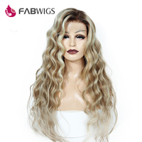 Fabwigs T4/27/613 Ombre Blonde Full Lace Human Hair Wigs European Lemi Color Highlights Human Hair Wigs with Baby Hair