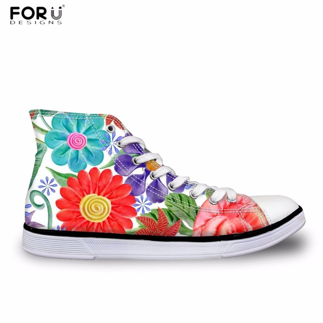 5acfa955ed9ed US $29.99 25% OFF|FORUDESIGNS Women Casual Sneakers Pretty Flower Printing  Women's High Top Vulcanize Shoes Flats Female Canvas Shoes Zapatos -in ...