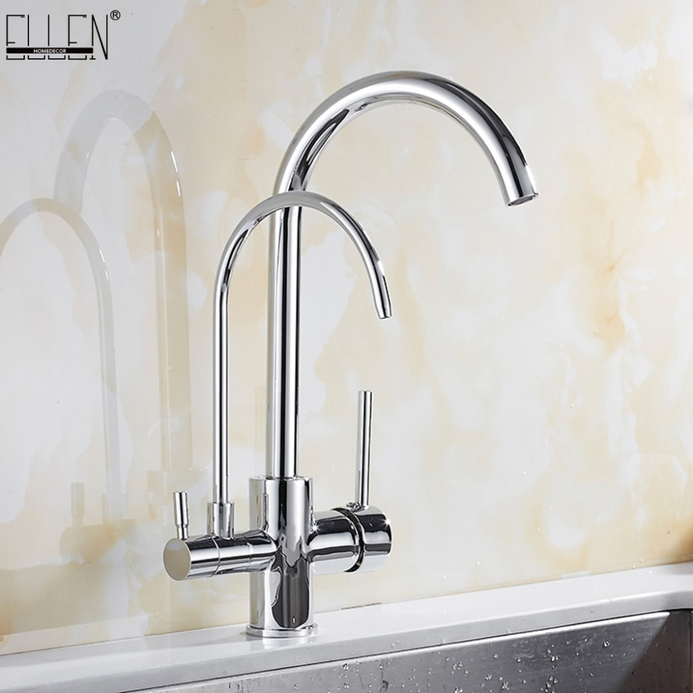 Kitchen Faucets Solid Brass Crane For Kitchen Purified Water Filter Tap Three Ways Sink Mixer 3 Way Kitchen Faucet ELM134 цена