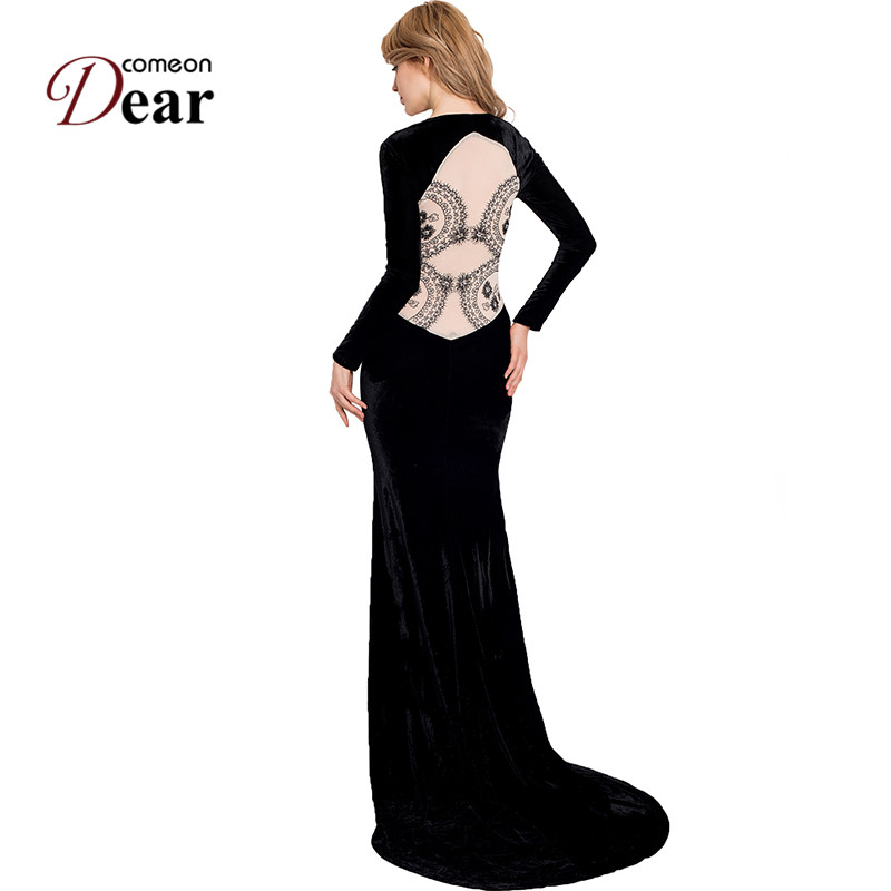 Comeondear Black Velvet Dress Party Evening Back See Through Lace Long Party Dress RJ70214 Two Style Noble Elegant Formal Dress