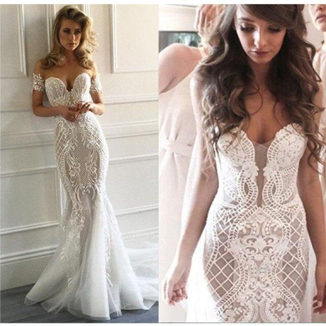 Mzy0280 Unique Y White Ivory Lace Liques Off Shoulder Mermaid Wedding Dress Bridal Gown Vestido De
