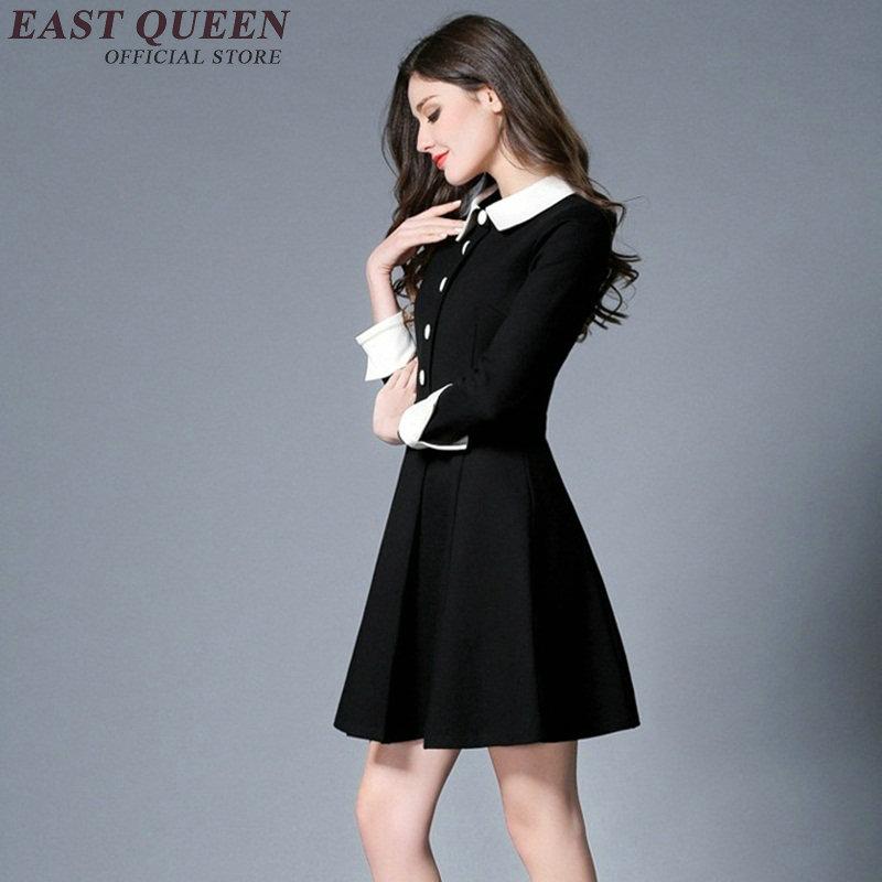 64d392dca8 Verano Mujer vestido negro con cuello blanco de tres cuartos de la manga  botón frontal vestido de las mujeres casuales de negocios de ropa NN0521 HQ  en ...