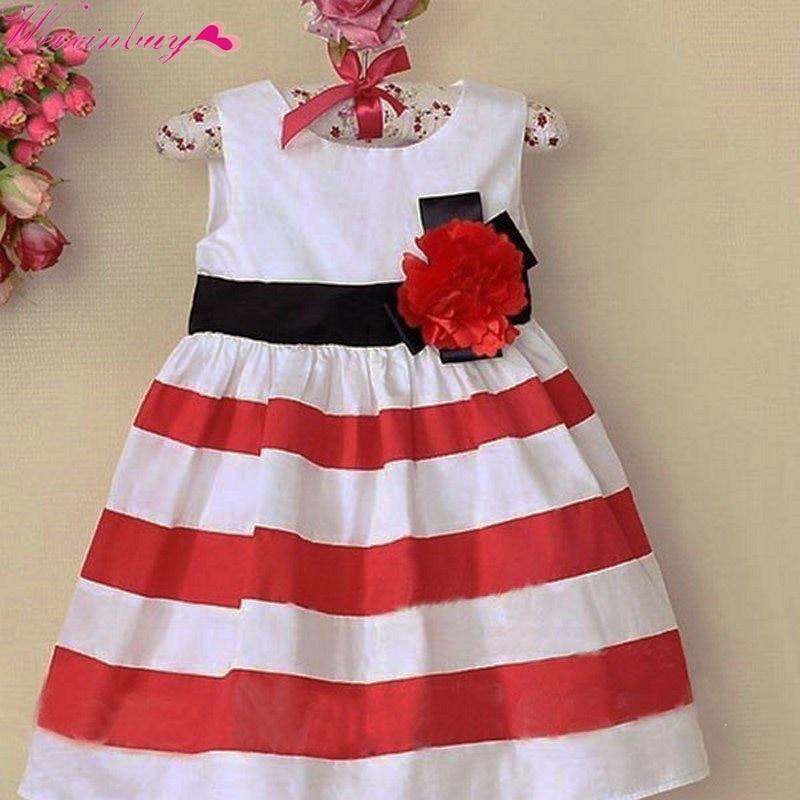 ᗜ LjഃBebé Niñas flor rayas vestido niños algodón princesa ropa 2-7 ... 2137f5ae66b7