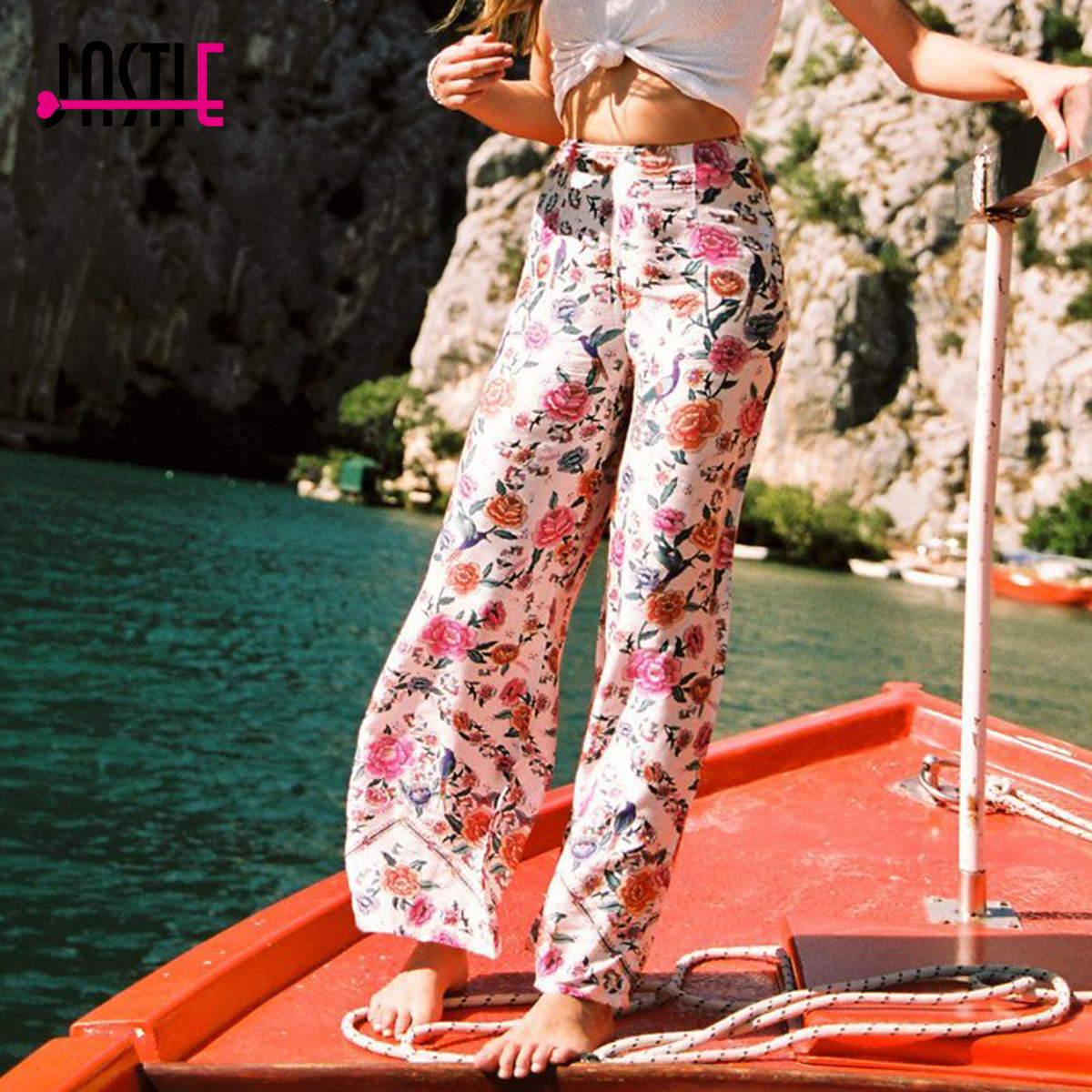 Jastie Boho Flower Print Trousers Women Pants Casual Beach High