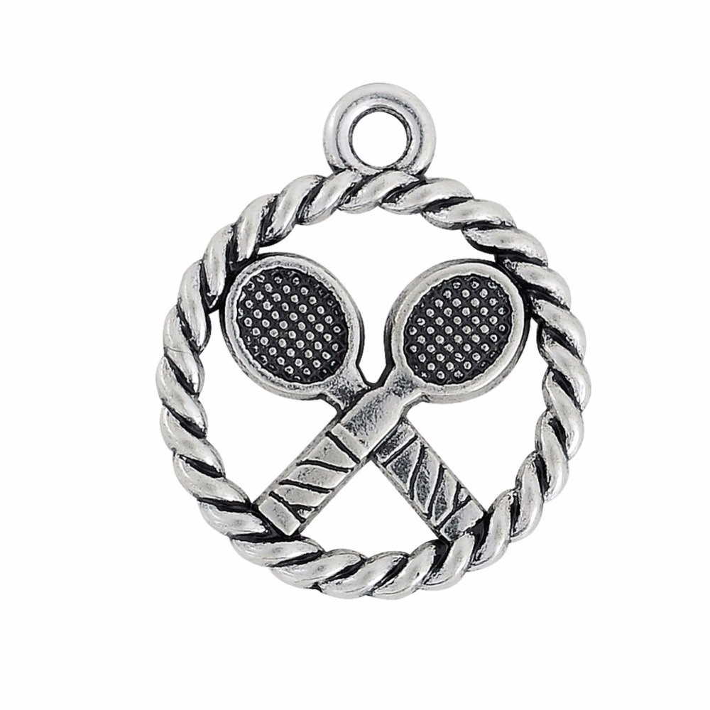 30PCS Ancient Silver Sport Tennis Racquet Necklace Dangle Jewelry Silver Alloy DIY Dangle Jewelry Accessories
