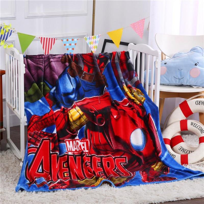 Disney Cartoon Spiderman Avengers Mc Queen Plush Flannel Blanket Throw for Boys Children on Bed Sofa Couch 150X200CM Kids Gift