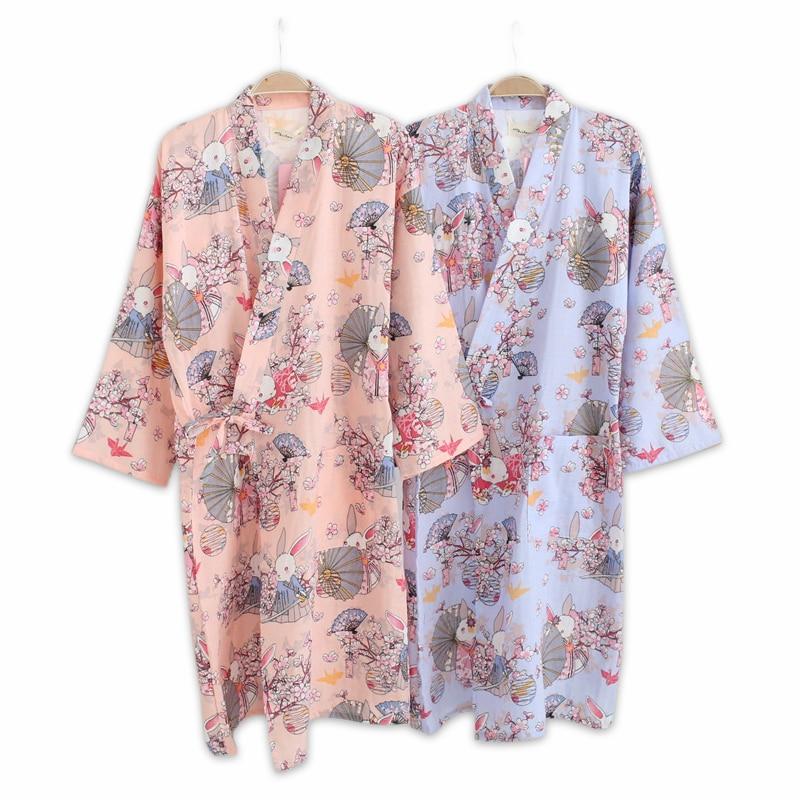 Intelligent Frühling 100% Baumwolle Japanischen Kimono Roben Für Frauen Langarm Frauen Roben Sexy Cute Cartoon Kaninchen Bademäntel