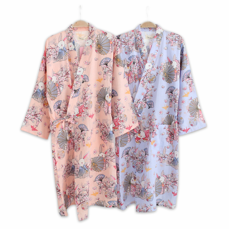 Spring 100% Cotton Japanese Kimono Robes For Women Long Sleeve Women Robes Sexy Cute Cartoon Rabbit Bathrobes