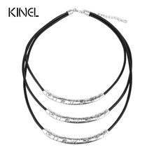 Kinel Vintage Jewelry Silver Plated Handmade Carving Dandelions Geometric Alloy 3 Layer Pendant Choker Necklace For Women(China)