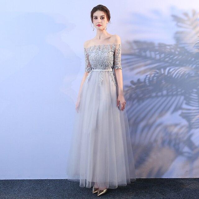 finest selection 26f59 4279f Elegante Brautjungfer Kleider Grau Farbe Lange Party Kleid Hochzeit Weg Von  der Schulter