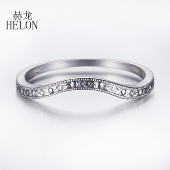 HELON Real 925 Sterling Silver Antique Classic Anniversary Wedding Bands Ring Setting Art Deco Women Trendy Fine Jewelry
