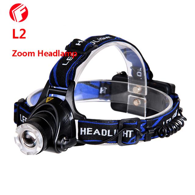 Lâmpada de Cabeça LED L2 High Power 18650 bateria recarregável Ao Ar Livre camping Ciclismo Noite caminhada Escalada caça Zoom Hoofdlamp