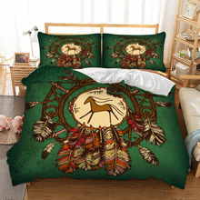 Indiana style Horse printed Bedding Set queen King single sizes Duvet Cover set bed linens Feather Bell cover 3pcs