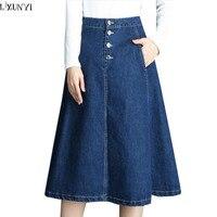 LXUNYI Autumn Jeans Skirt Women High Waist A Line Casual Big Size Denim Skirts Womens 2018