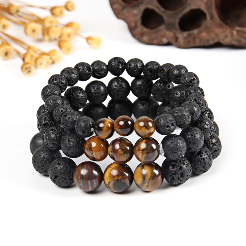 Tiger Eye Bracelet Men Natural Stone Beads Bracelet Women Lava Stone Beads Bracelets Bangles Buddha Dropshipping