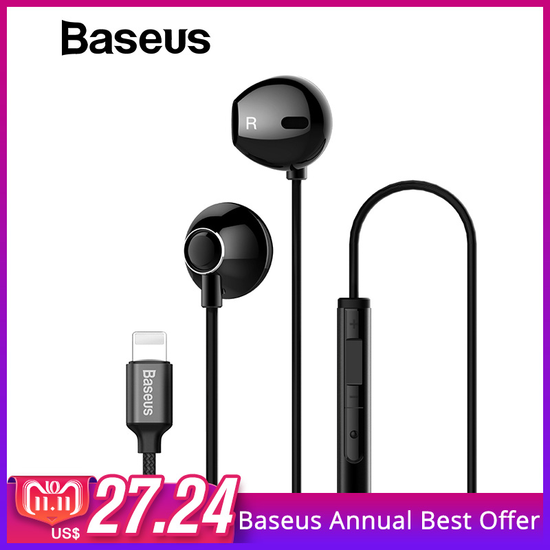 Baseus P06 Wired Stereo Earphone For iPhone X 8 7 Bass Sound Hifi Earbuds for iPhone Lightning Jack earphones With Mic for ios szkoston mizoo professional waterproof earphones heavy bass sound hifi portable headset earbuds with mic for mobile phones mp3