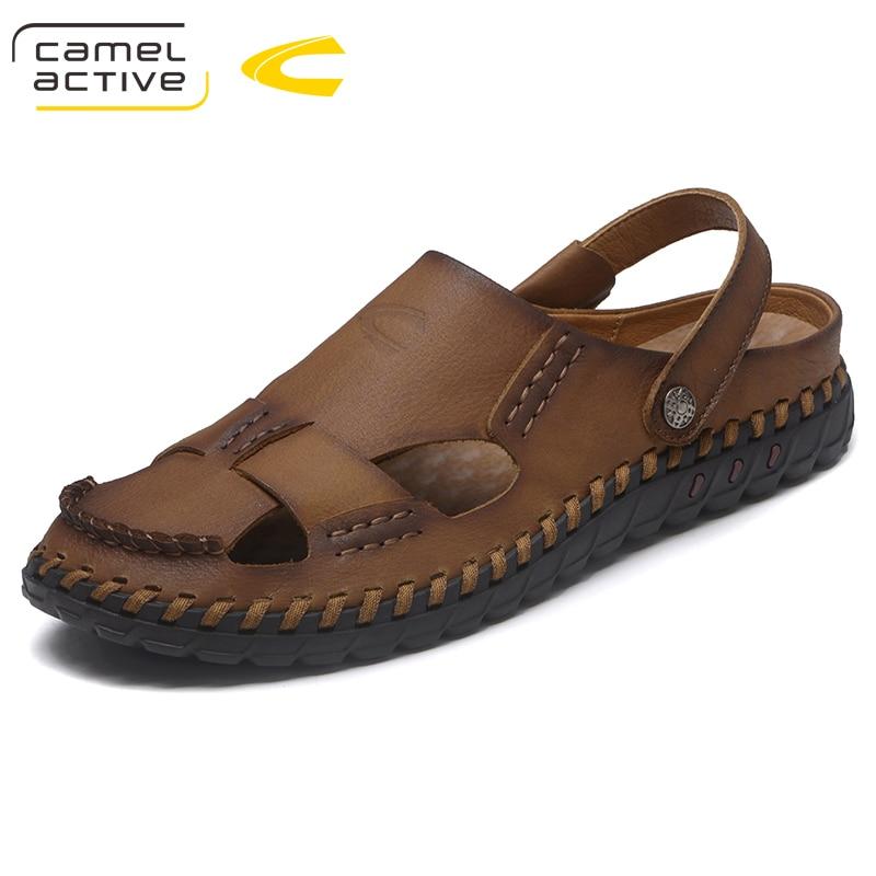 Camel Active Men Sandals Genuine Leather Men Beach Sandals Brand Men Casual Shoes Flip Flops Sneakers Men Slippers Summer Shoes недорго, оригинальная цена