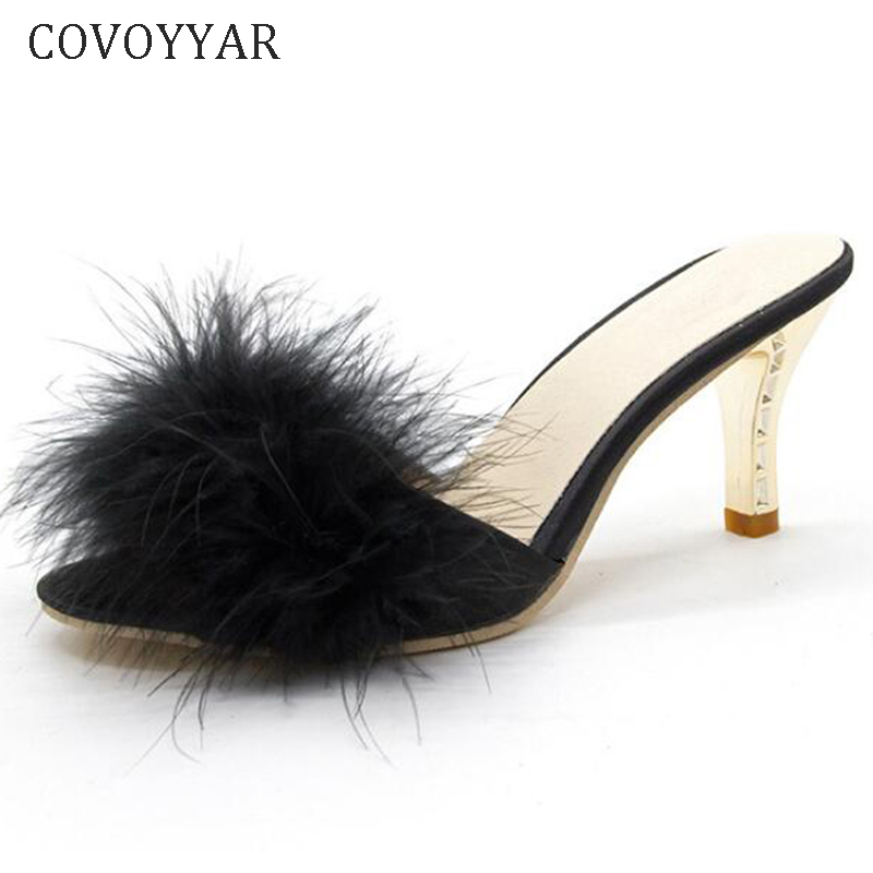 COVOYYAR 2019 Summer Shoes Woman Feather Thin High Heels Fur Slippers Peep Toe Mules Lady Pumps Slides Shoes Big Size WHH667(China)