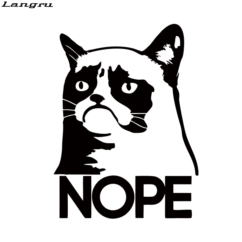 Langru Grumpy Cat Nope Funny Attractive Car Styling Car Truck Window Vinyl Decal Decorative Art Sticker Jdm