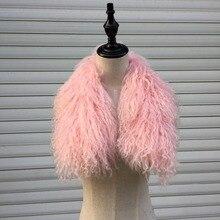 SF0090 70 см монгольский ягненок меховой воротник шарф/Модный женский натуральный мех теплый шарф