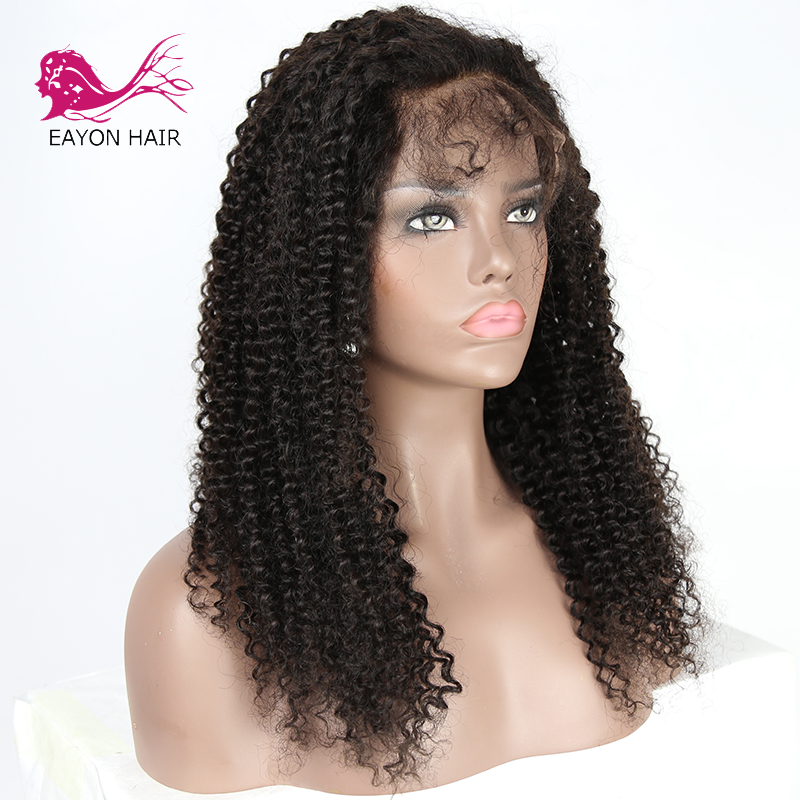 Eayon Hair Kinky Curly Weave Full Lace Human Hair Wigs With Baby Hair For Black Women Brazilian Remy Hair 130% Density #1B