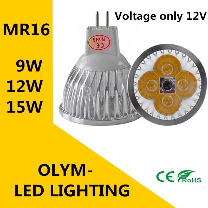 100X DHL High power MR16 12V 9W 12W 15W Dimmable led spotlight lamp bulb warm/cool white LED light