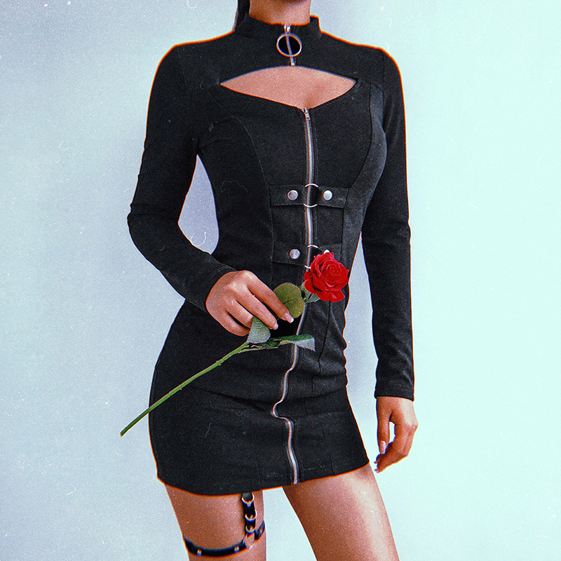 Sweetown Black Front Hollow Out Sexy Gothic Party Dress Women 2018 Zipper Long Sleeve Turtleneck Bodycon Autumn Winter Dresses 1