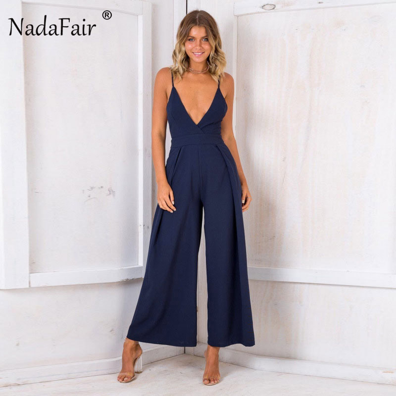 f6db930ce34c Nadafair Sleeveless Deep V Neck Backless Bow Sexy Jumpsuit Women Wide Leg  Pants Casual Rompers Loose Overalls-in Jumpsuits from Women s Clothing on  ...
