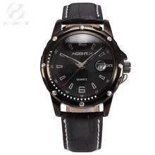 AGENTX Brand Stainless Steel Case Black Analog Date Display Leather Band Strap Business Quartz Men Dress Wrist Watches / AGX007