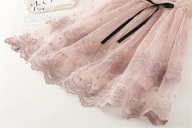 Baby Girl Floral Lace Mesh Princess Tutu Dress Children Hollow Out Wedding Christening Gown Dress For Kids Party Wear Vestidos 2