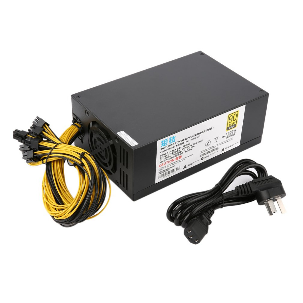 1800w High-efficiency 10 X 6pin Miner Mining Machine Power Supply For Antminer A6/7 S7/9 L3+ D3 R4 With Double Cooling Fans