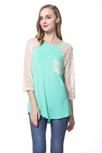 """Knitbest"""" Women's 3/4 Lace Sleeve T-shirts Long Johns Round Neck Bottoming Shirt Green Patchwork Elegant Leisure Styles"""