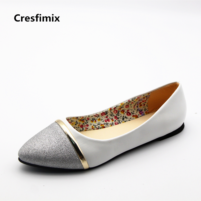 Cresfimix sapatos femininas women sexy golden & silver comfortable slip on flat shoes female cute street stylish shoes cool shoe cresfimix women cute spring and summer slip on flats sapatos femininas female black soft pu leather comfortable flat shoes