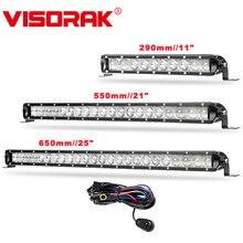 VISORAK 11 21 25 Offroad Slim LED Light Bar Off Road Car Work For 12V 24V Vehicles 4WD 4x4 Truck ATV