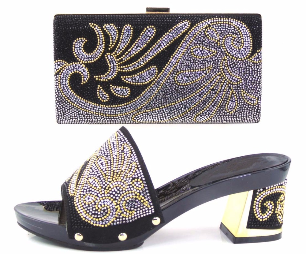 Fashion Black Color Party Shoes With Bags High Heels Women  Shoes African Wedding Shoe And Bag To Match For Parties TT23 технический фен bosch phg 630 dce 060329c708