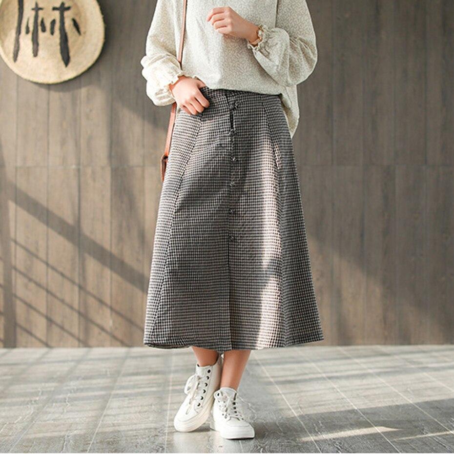 Women Cotton Skirt Vintage Formal Office Ladies Casual Fashion for Spring Long Elastic Waist Skirt Plaids AZ39493024