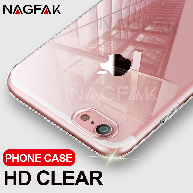 NAGFAK Ultra Dunne Transparante Case Voor iPhone 8 7 Plus 6 6 S Plus gevallen Soft TPU Cover Voor iPhone 6 6 S 7 8 Plus Telefoon Case Capa