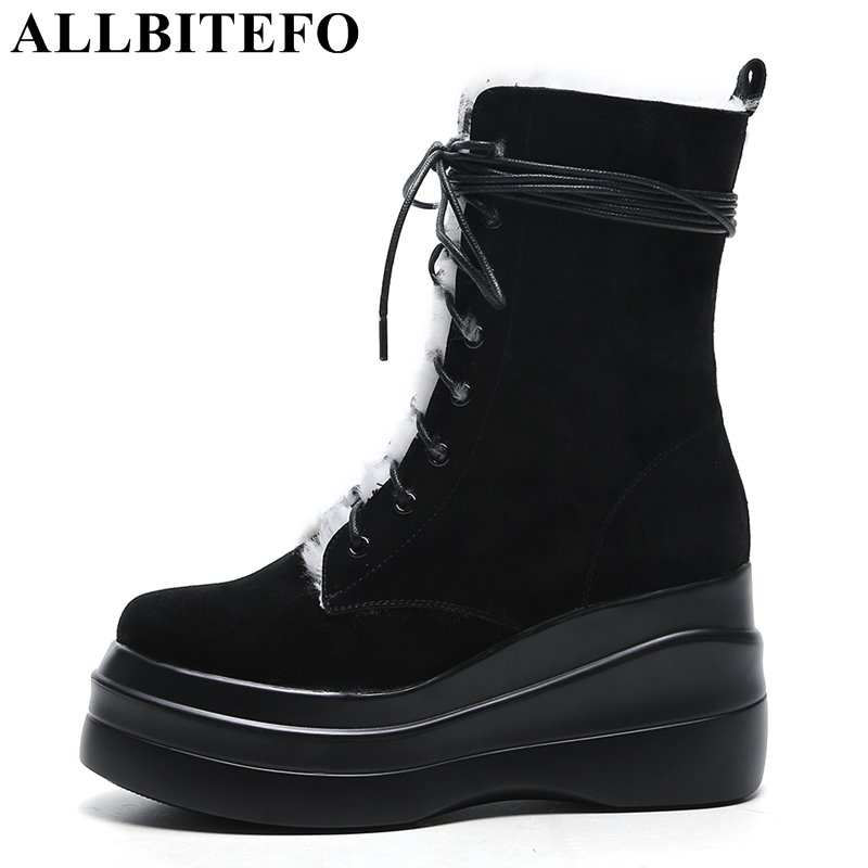 ALLBITEFO hot sale Nubuck leather high heels platform women boots fashion brand wedges heels winter boots snow warm boots hot sale open front geometry pattern batwing winter loose cloak coat poncho cape for women